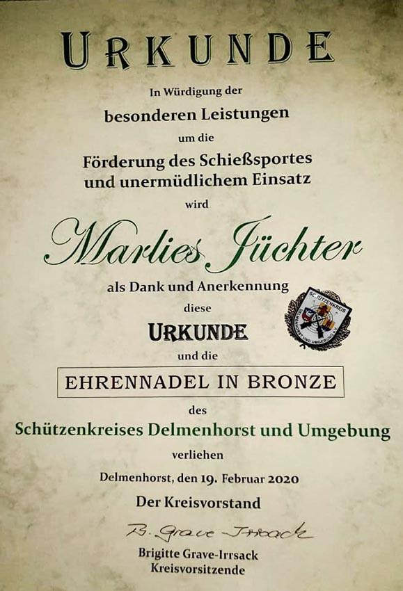 Urkunde-Marlies-Juechter-Ehrennadel-Bronze