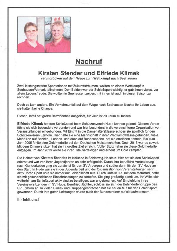 Nachruf Kirsten Stender und Elfriede Klimek