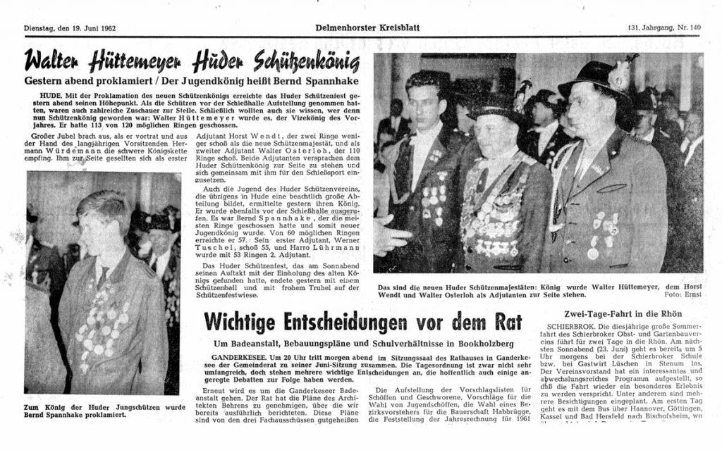 Delmenhorster-Kreisblatt-vom-19061962-Schuetzenkoenig-Walter-Huettemeyer